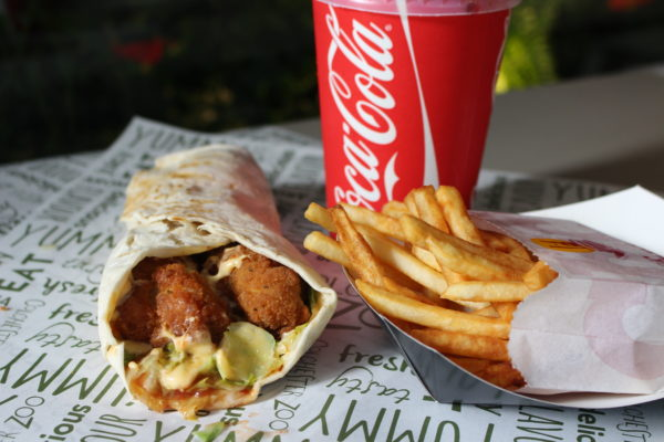 Chicken wrap with fries and drink