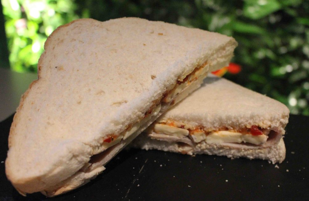 Sandwich presented on slate