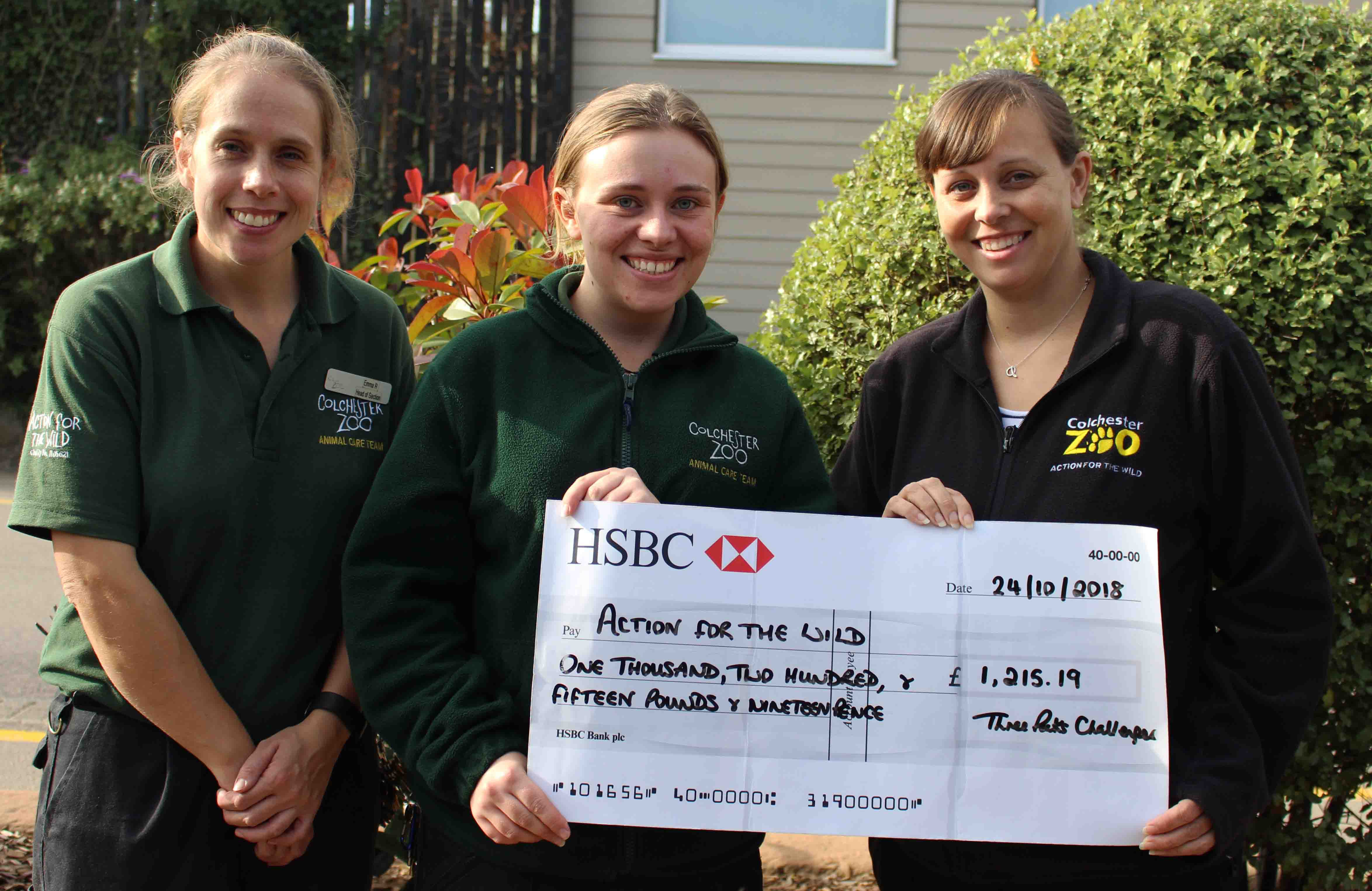 Colchester Zoo staff have fund raising success