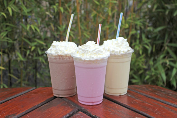 Selection of milkshakes with whipped cream