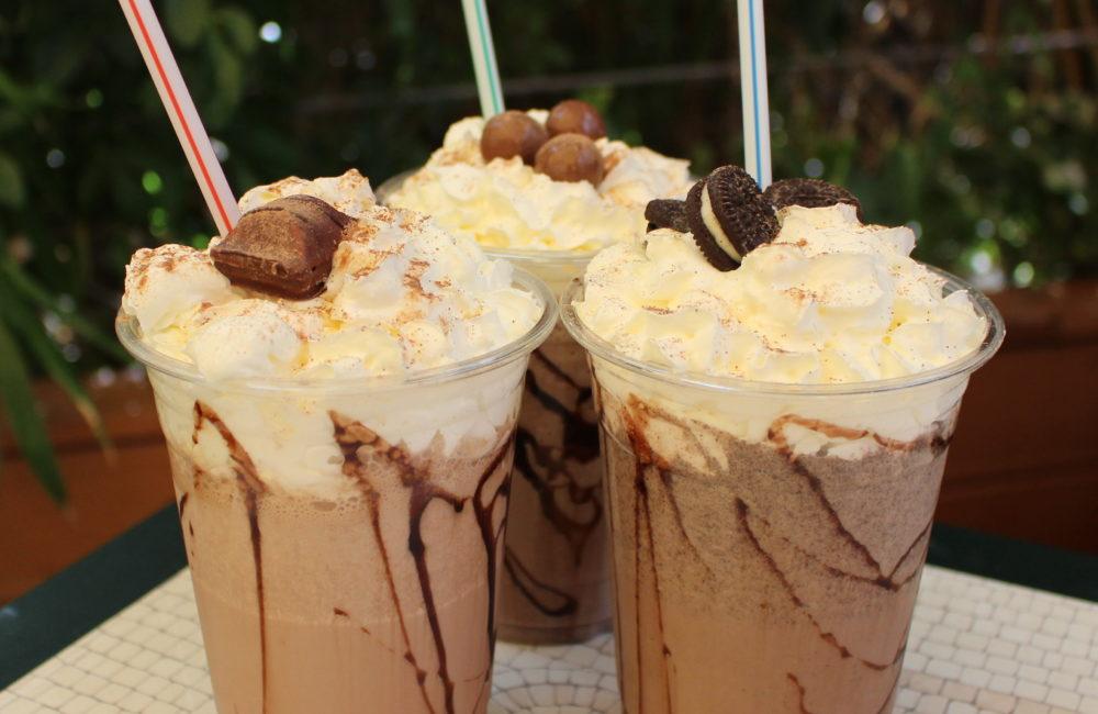 Selection of chocolate milkshakes