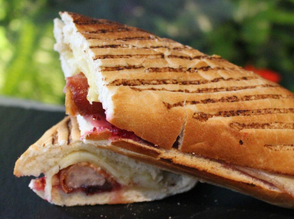 Festive toasted panini presented on slate