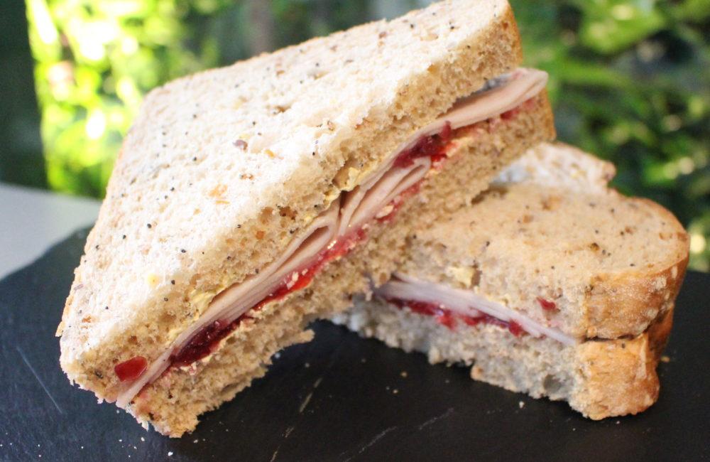 Festive sandwich presented on slate