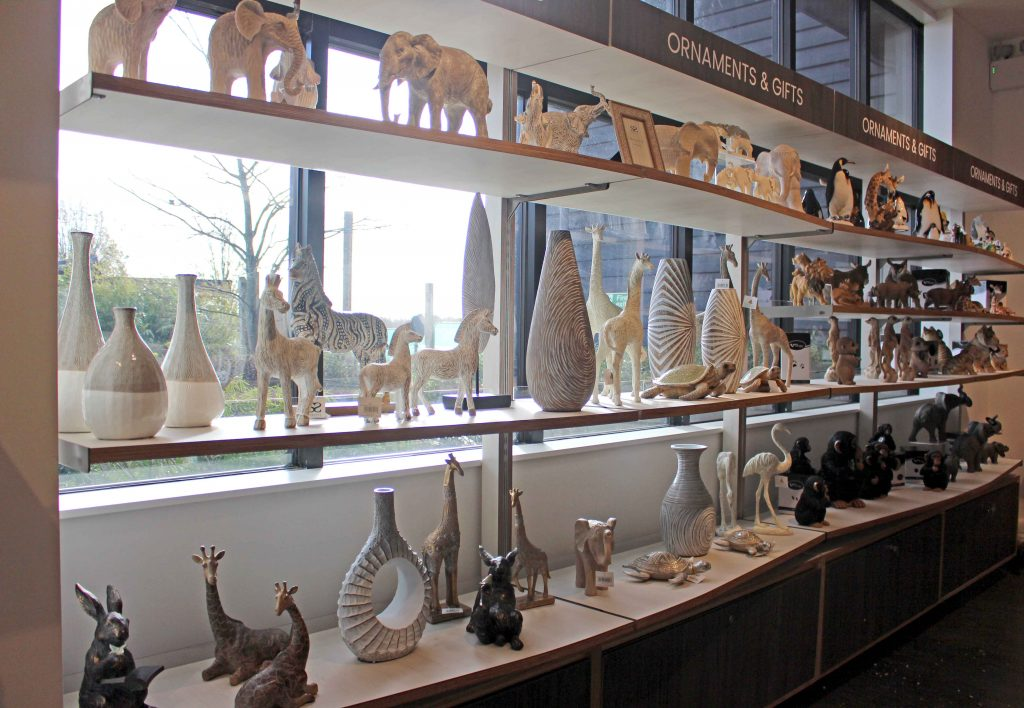 Display shelves showing ornaments and vases