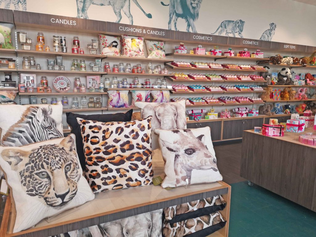 Display units in the gift shop showing cushions
